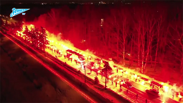 Zenit fans produce incredible fire display for team ahead of Europa League clash