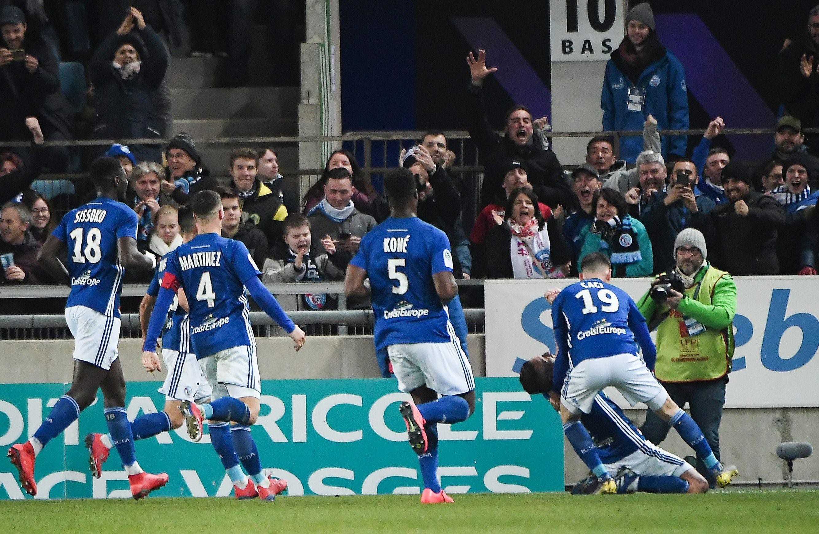 Anthony Gonçalves fête son but lors de Strasbourg-Lille / Ligue 1