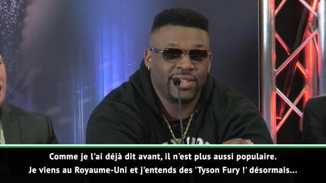 """Miller : """"Joshua n'est pas populaire ici, j'entends des Tyson Fury, Tyson Fury..."""""""