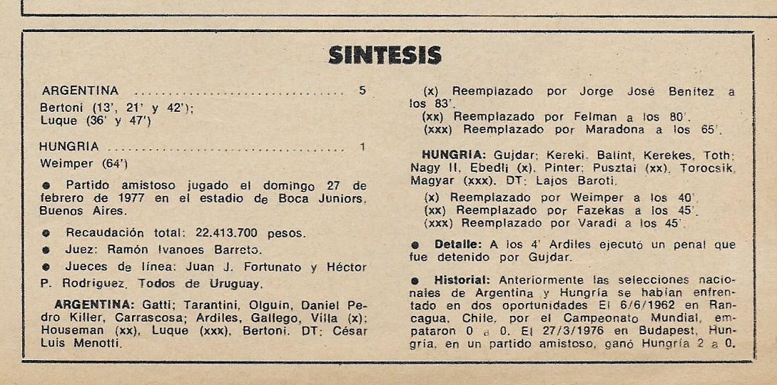 Il tabellino di Argentina-Ungheria 5-1 (El Grafico)