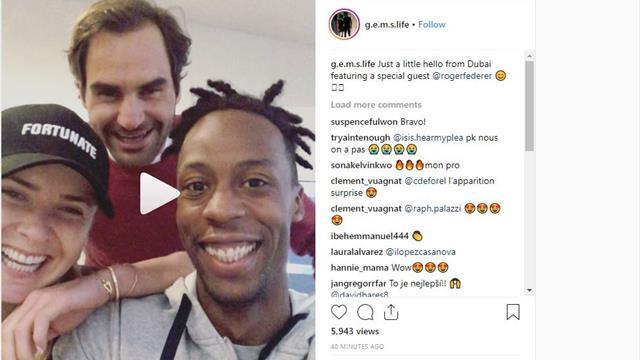 Quand Federer s'incruste dans une vidéo de Monfils et Svitolina