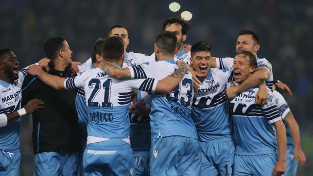 Lazio hit three past lacklustre 10-man Roma
