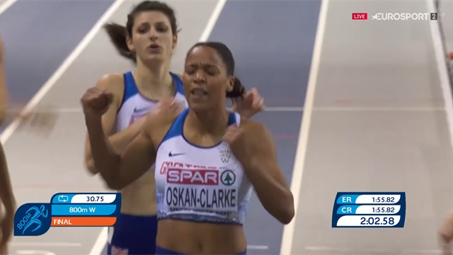 Oskan-Clarke storms to 800m gold at European Indoor Championships