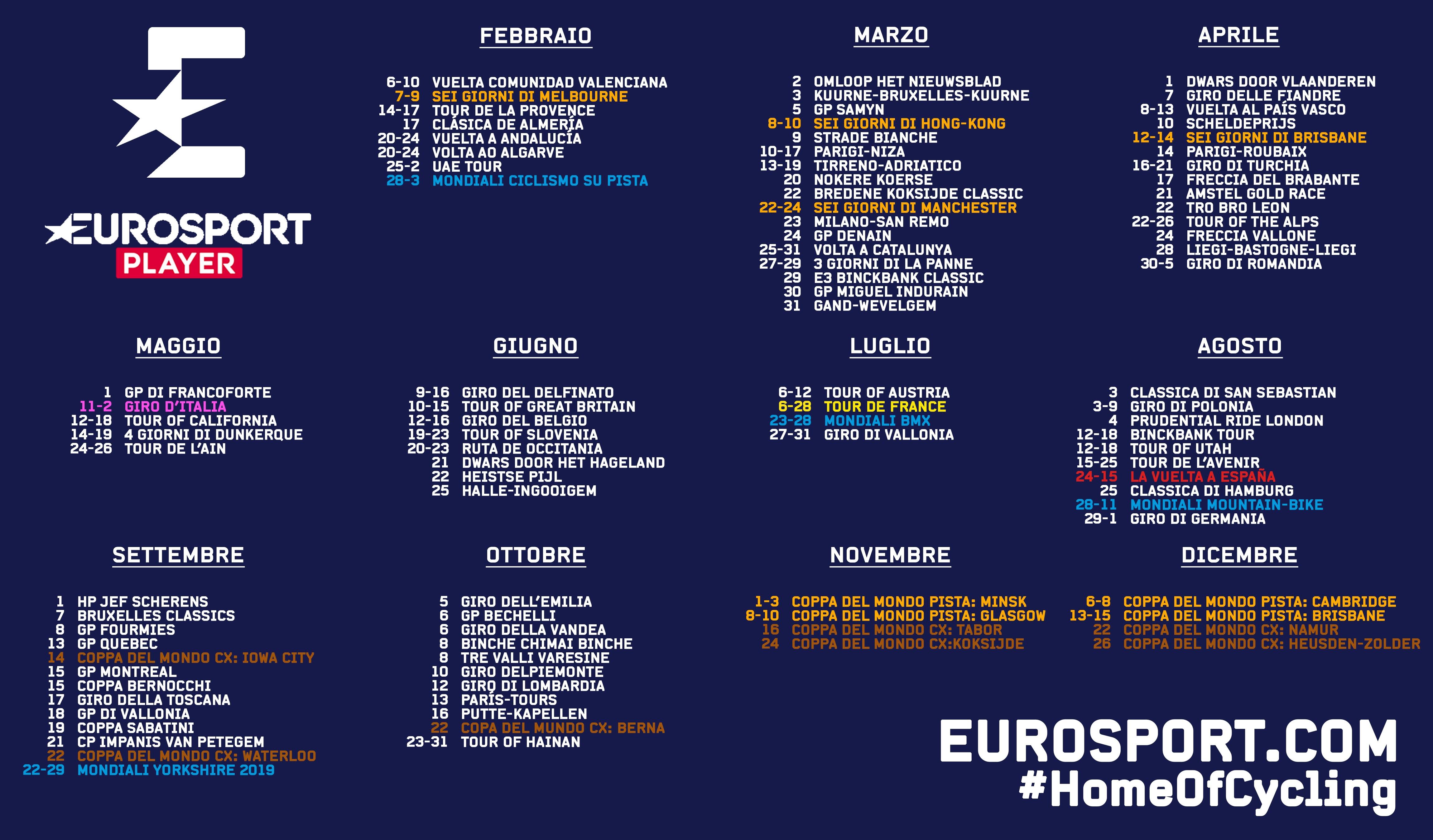 Calendario Gare Ciclismo 2020.Il Calendario Del 2019 Di Ciclismo Su Eurosport Programma