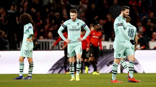 Disastrous night for 10-man Arsenal as Rennes take control