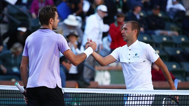 Wawrinka comes from set down to oust Evans in Indian Wells