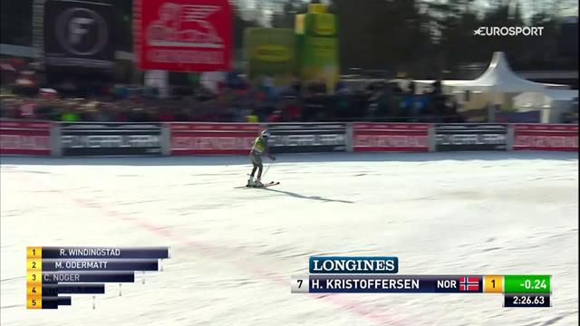 Kristoffersen sul gradino più alto di un podio inedito con Windigstad e Odermatt