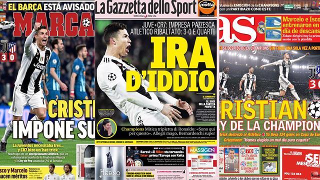 """Edicola: da """"Ira d'Iddio"""" a """"Rey della Champions"""", i quotidiani celebrano Ronaldo e la Juventus"""