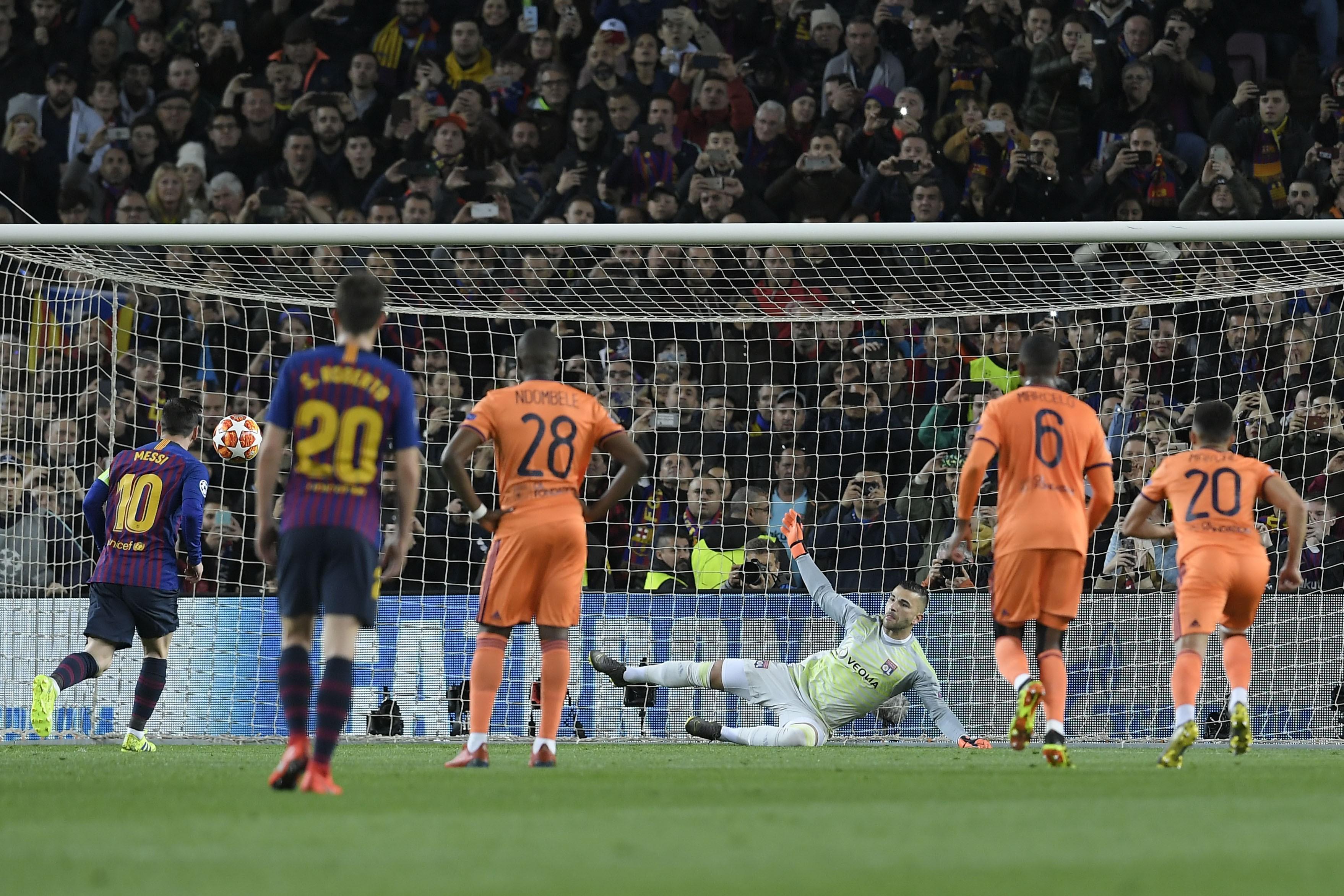 Lionel Messi lors de FC Barcelone-OL / Ligue des champions