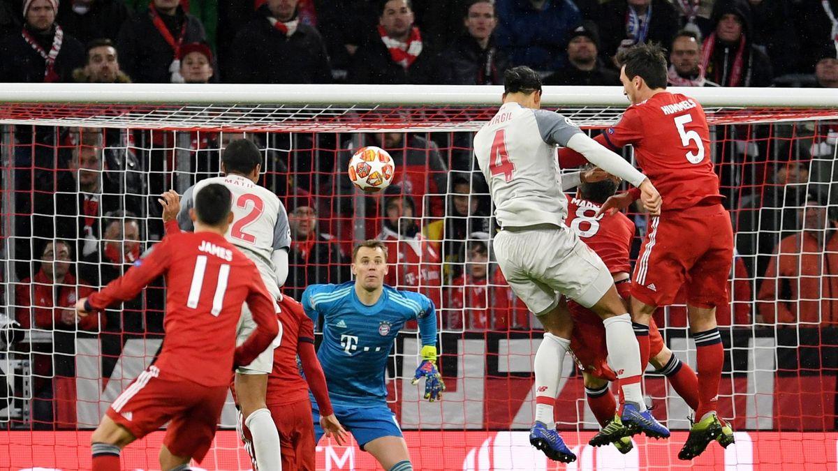 Champions League - Round of 16 Second Leg - Bayern Munich v Liverpool - Allianz Arena, Munich, Germany - March 13, 2019 Liverpool's Virgil van Dijk scores their second goal