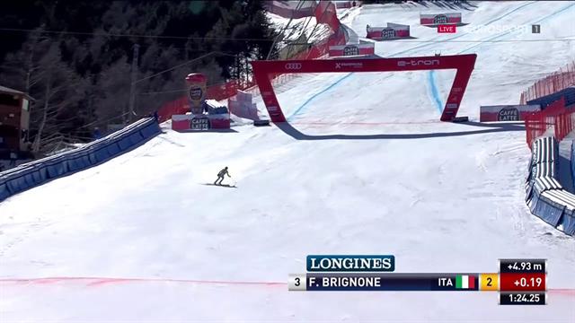 Federica Brignone sul podio nell'ultimo SuperG stagionale: è terza