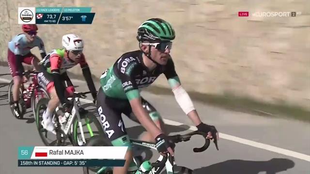 Tirreno-Adriático 2019: La imagen del día, Gatto (sonriente) y Majka en carrera tras su accidente