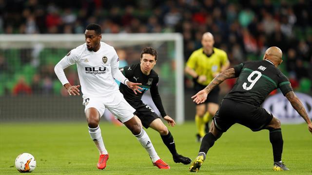 Europa League (Octavos, vuelta), Krasnodar-Valencia: Guedes adelanta las Fallas (1-1, global 2-3)