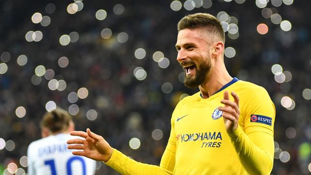 Giroud's perfect hat-trick helps Chelsea hammer Kiev