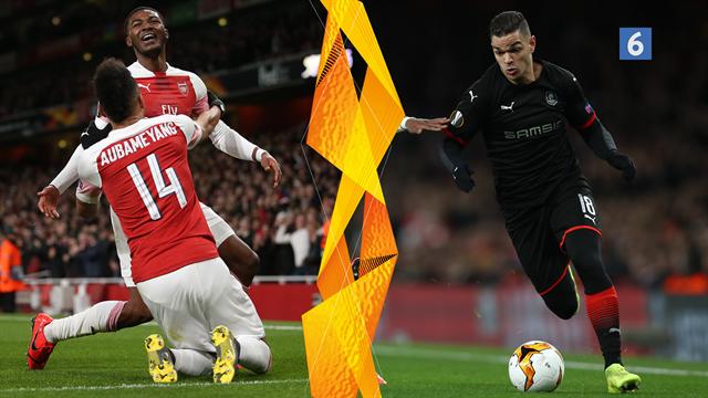 Highlights: Aubameyang og Arsenal udraderede Rennes i vildt Europa League-drama