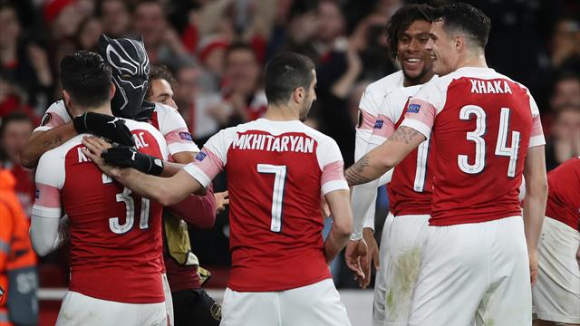 Aubameyang brace sends Arsenal into Europa League last eight
