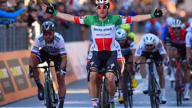 Viviani gana al esprint a Sagan y Gaviria; Yates sigue de azul