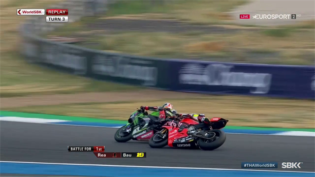 Amazing save as Bautista and Rea touch during overtake