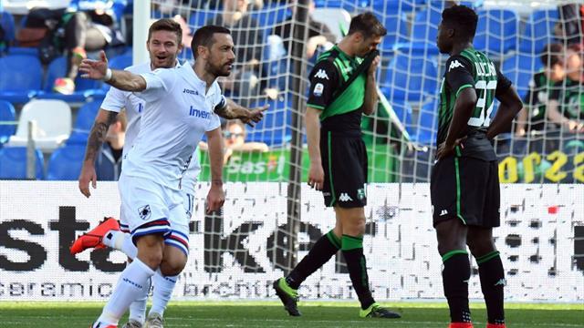 Quagliarella e Defrel show, il Sassuolo è già in vacanza: la Sampdoria passa 5 a 3