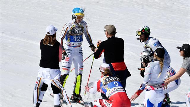 Danke, Felix! Neureuthers letzter Slalom-Lauf endet mit Champagnerdusche
