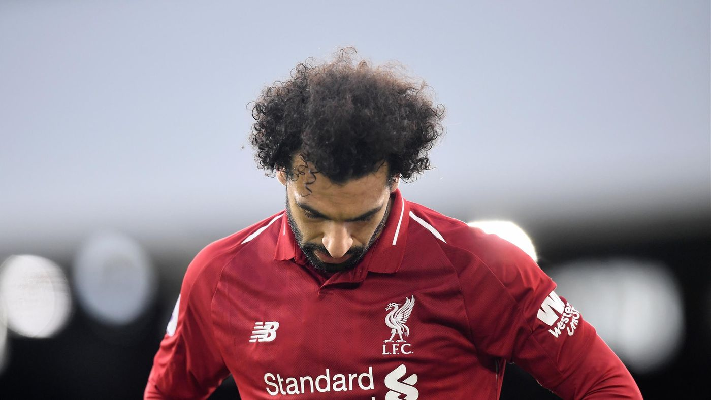 Mohamed Salah of Liverpool reacts during the Premier League match between Fulham FC and Liverpool FC at Craven Cottage on March 17, 2019 in London, United Kingdom.