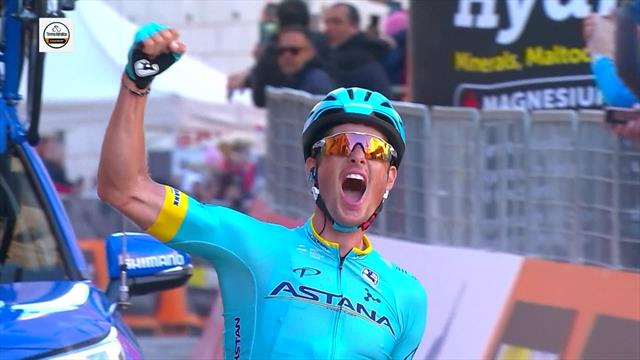 Jakob Fuglsang shows climbing class to win stage five of Tirreno-Adriatico