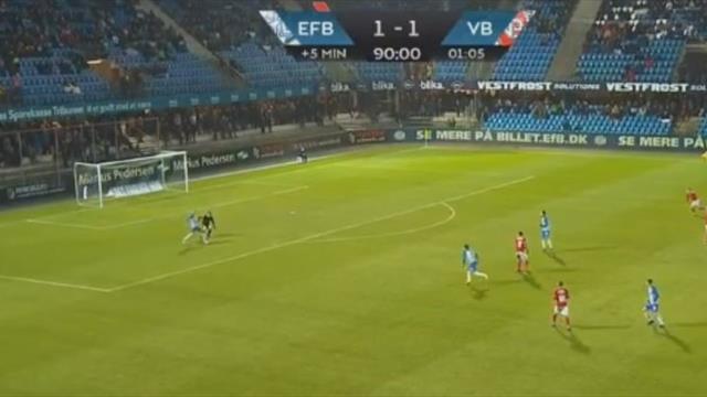 Датский вратарь устроил привоз года на 92-й минуте и помог «Эсбьергу» выйти в плей-офф