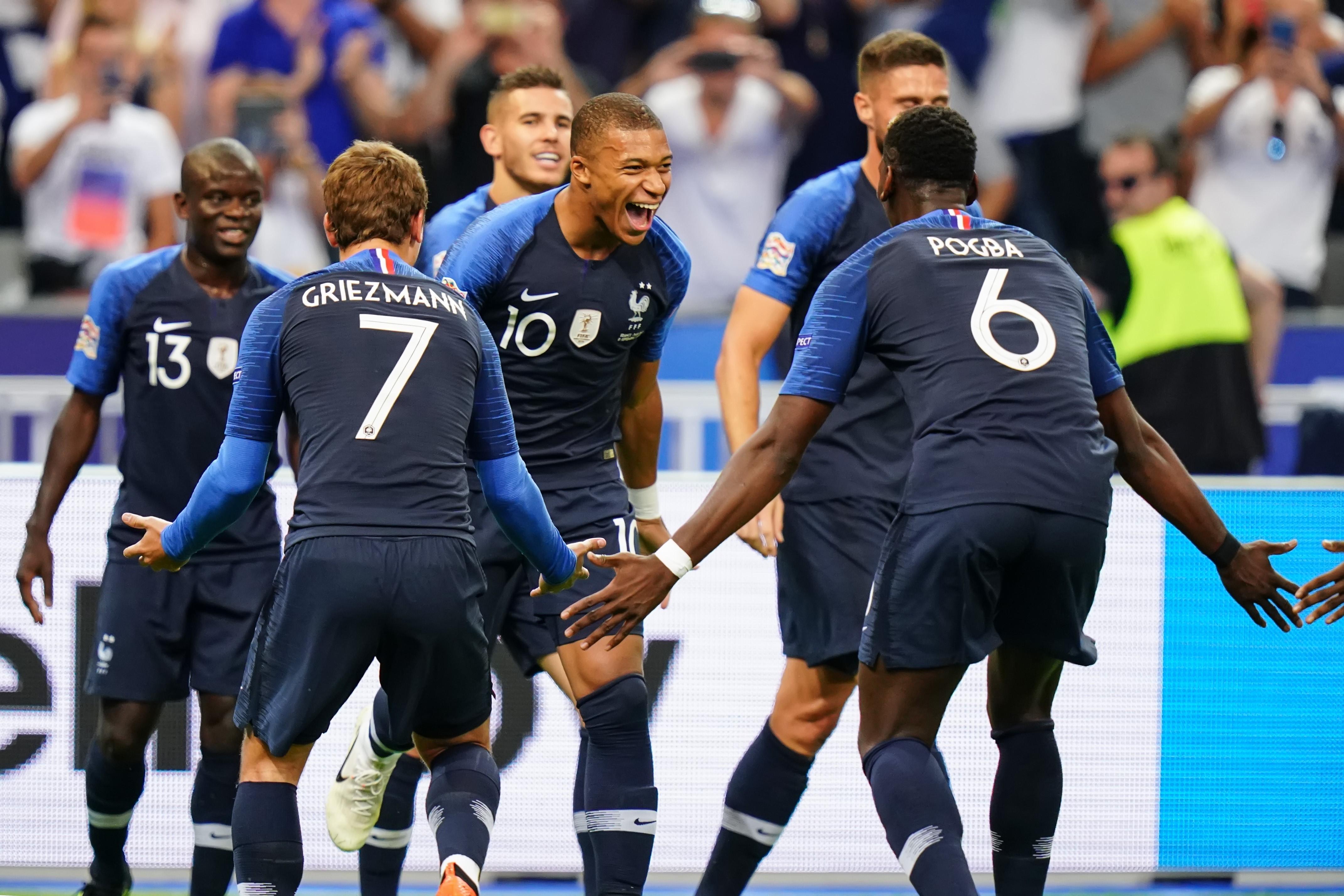 Antoine Griezmann, Kylian Mbappé et Paul Pogba lors de France - Pays-Bas en Ligue des nations