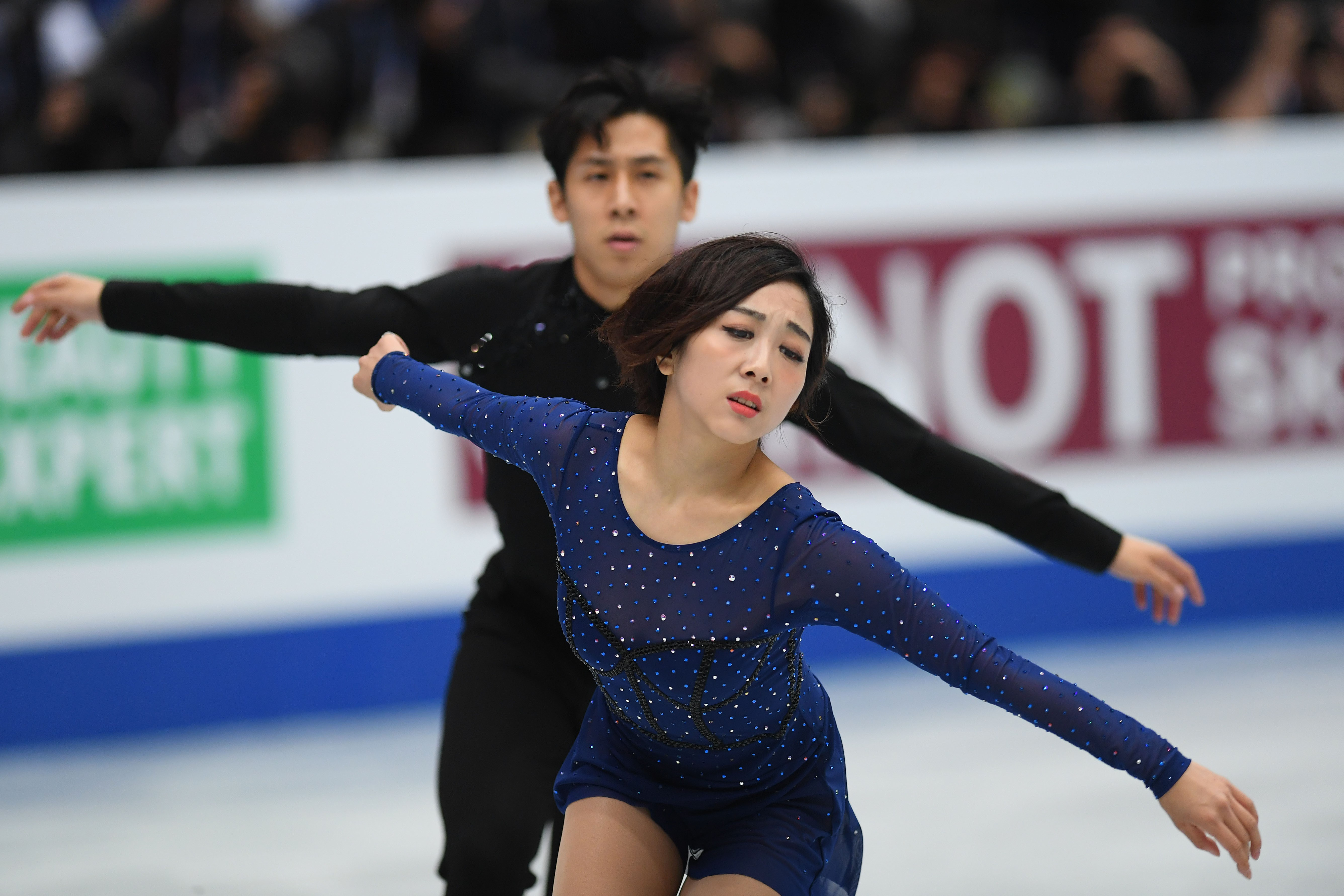 Wenjing Sui and Cong Han of China compete in the Pairs free skating during day 2 of the ISU World Figure Skating Championships 2019 at Saitama Super Arena on March 21, 2019 in Saitama