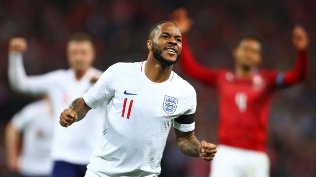 Sterling hat-trick leads England rout
