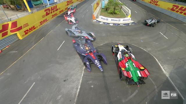 Formula E, ePrix Sanya: Di Grassi se quedó fuera por la embestida de Frijns y Buemi