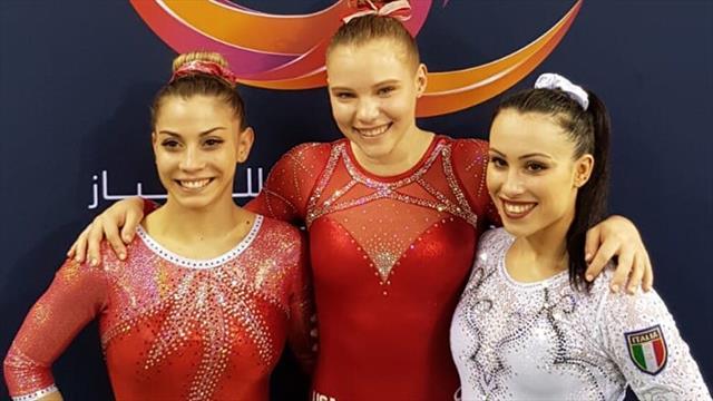 Podio per Lara Mori e Vanessa Ferrari nel corpo libero in Coppa del Mondo: vince Jade Carey