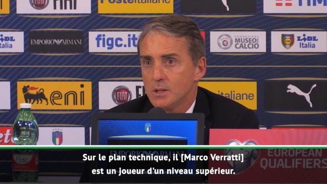 """Italie - Mancini : """"Verratti, un joueur d'un niveau supérieur"""""""