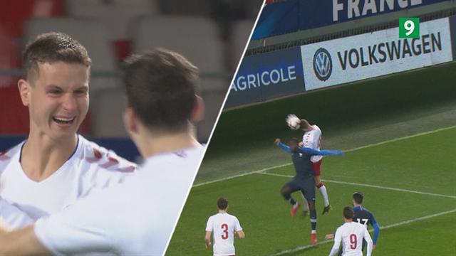 Highlights: Abildgaard-hovedstød sikrede overraskende dansk sejr over Frankrig