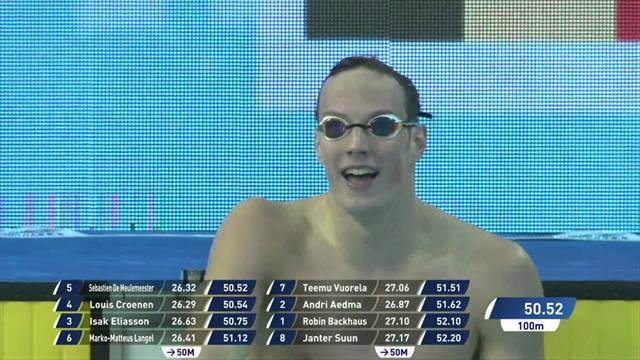 Meulemeester beats Croenen in Men's 100m Freestyle in Helsinki