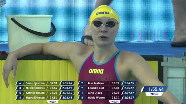Sjostrom storms to Women's 200m Freestyle Women win in Helsinki