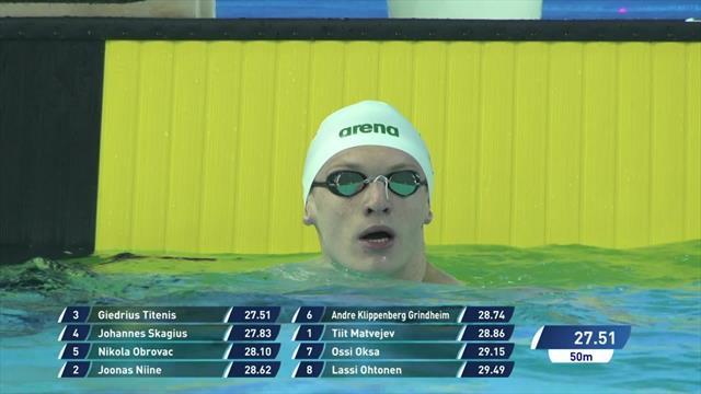 Titenis edges out Skagius in Men's 50m Breaststroke