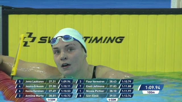 Laukkanen beats Eriksson by narrowest of margins in Women's 100m Breaststroke