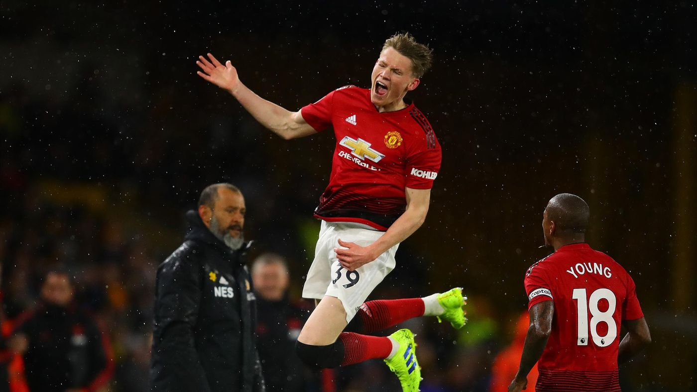 Scott McTominay of Manchester United celebrates scoring the opening goal during the Premier League match between Wolverhampton Wanderers and Manchester United at Molineux on April 02, 2019 in Wolverhampton, United Kingdom