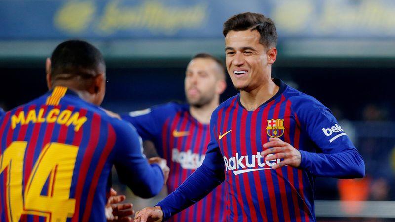 La Liga Santander - Villarreal v FC Barcelona - Estadio de la Ceramica, Villarreal, Spain - April 2, 2019 Barcelona's Philippe Coutinho celebrates scoring their first goal