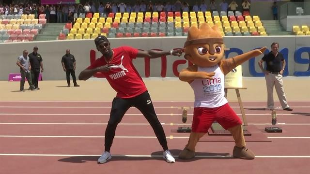 Usain Bolt visita la sede de atletismo de los Juegos Panamericanos 2019