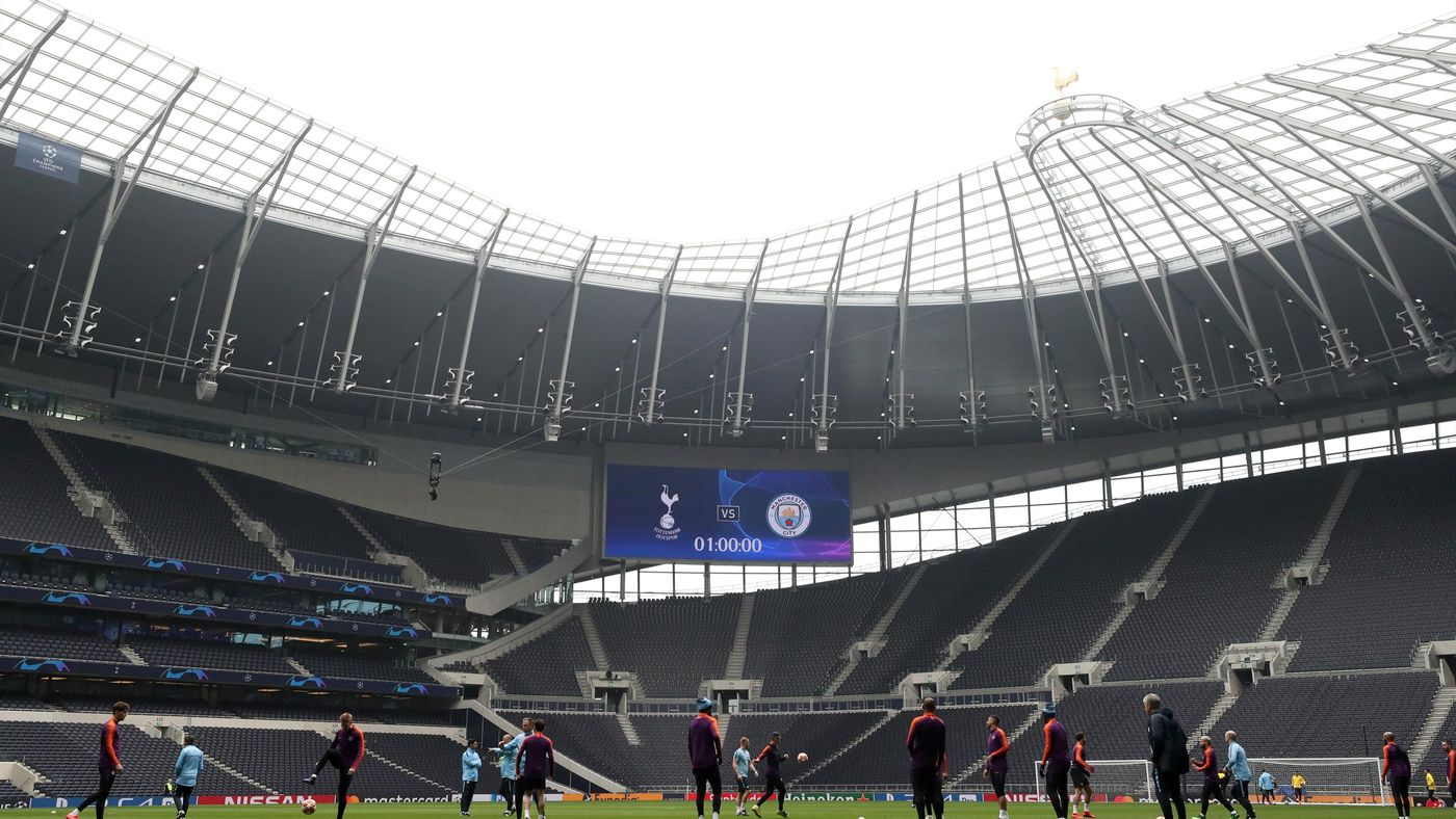 Manchester City trained at Spurs' new stadium on Monday
