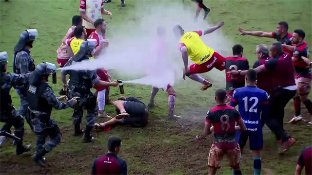 Players in brawl after cup match in Brazil