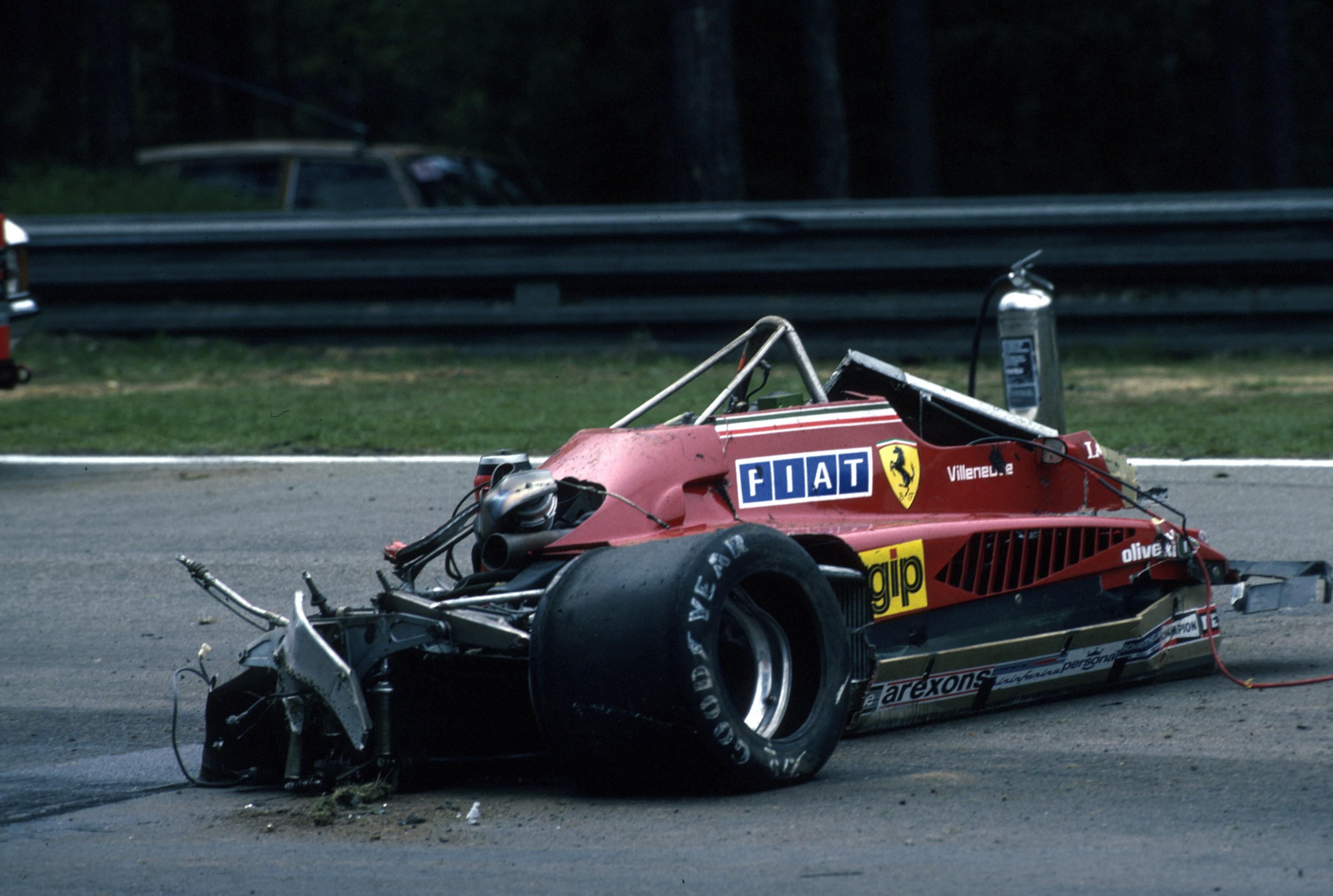 La Ferrari après l'accident de Gilles Villeneuve au Grand Prix de Belgique 1982