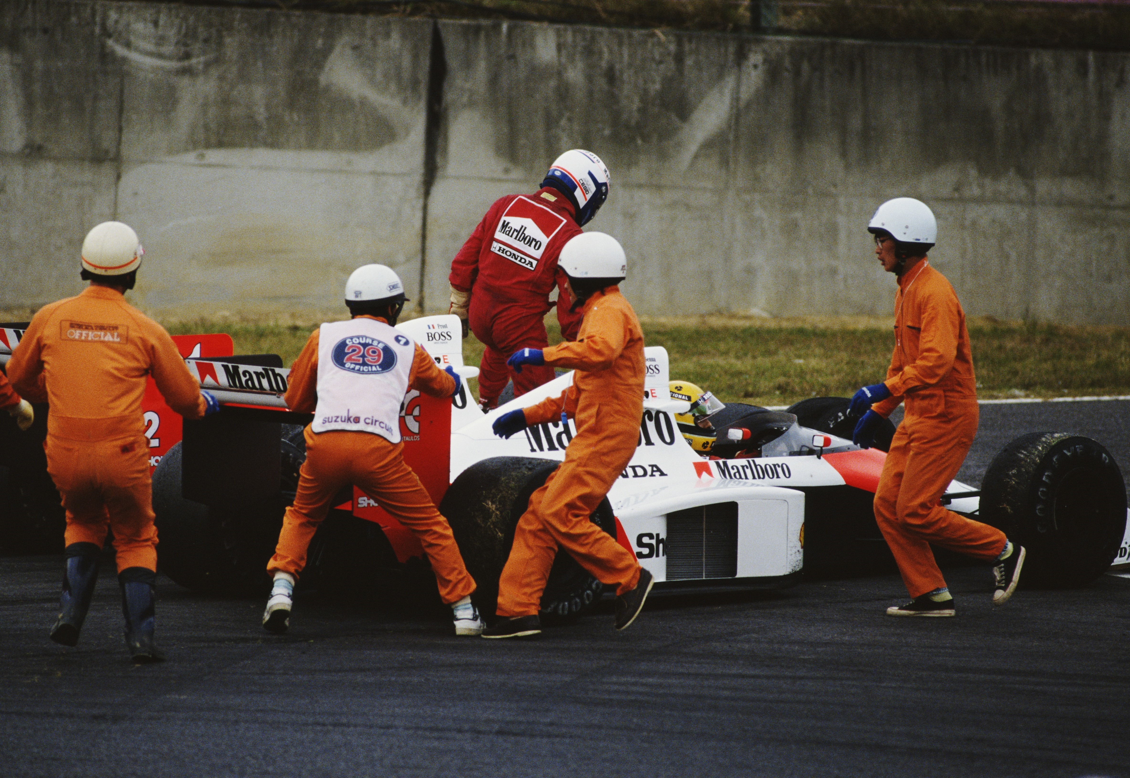 Ayrton Senna et Alain Prost (McLaren) au Grand Prix du Japon 1989