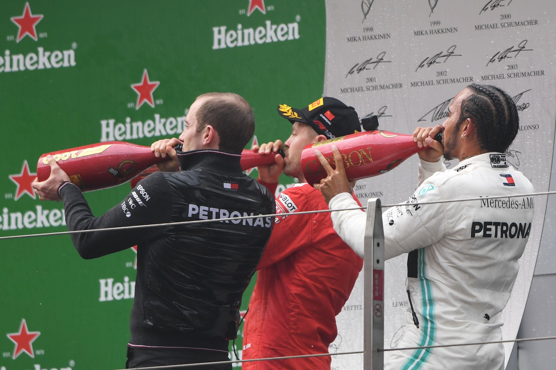 Sebastian Vettel (Ferrari) et Lewis Hamilton (Mercedes) au Grand Prix de Chine 2019