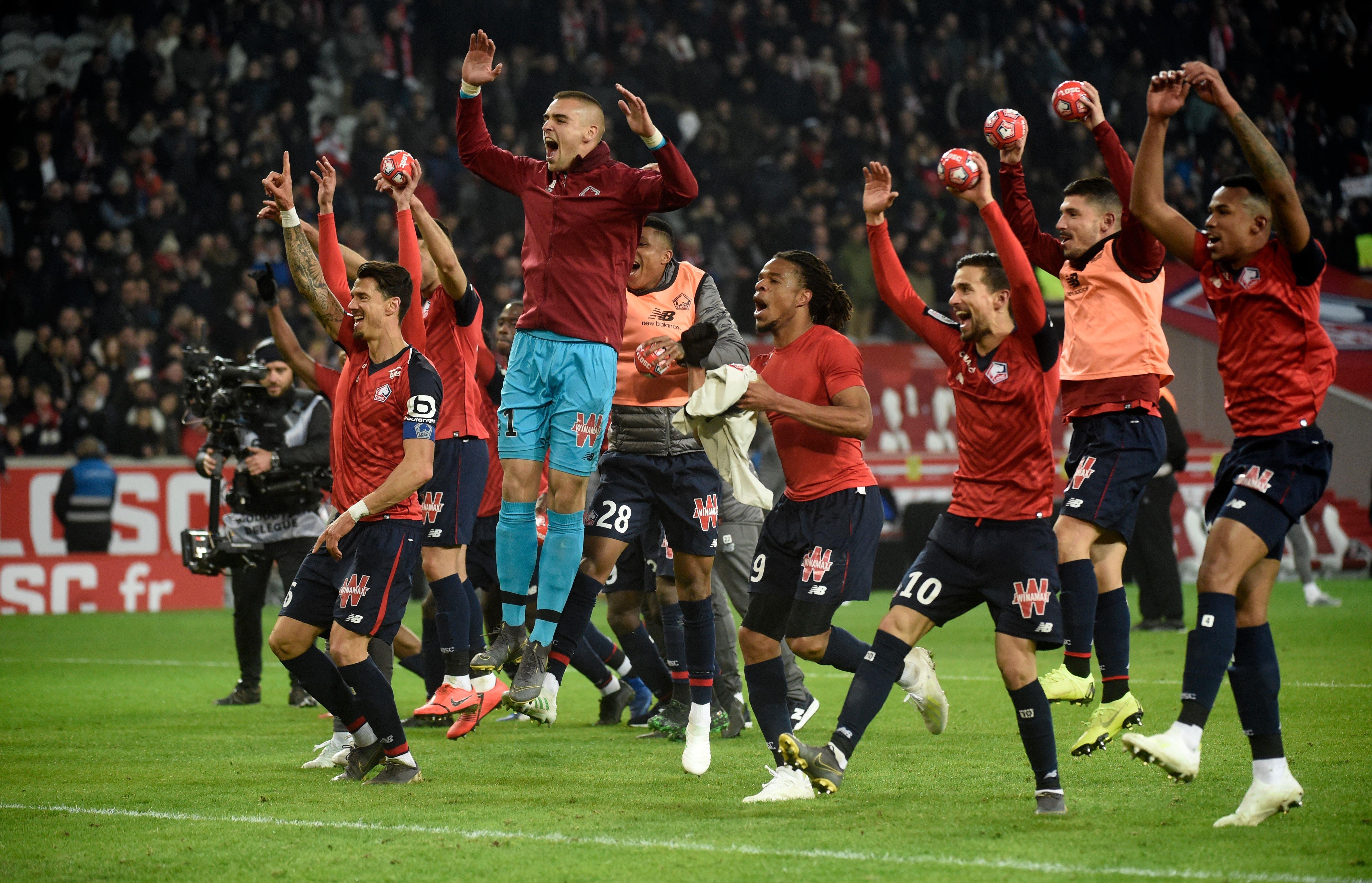 La joie des Lillois après leur carton face au PSG (5-1) en Ligue 1