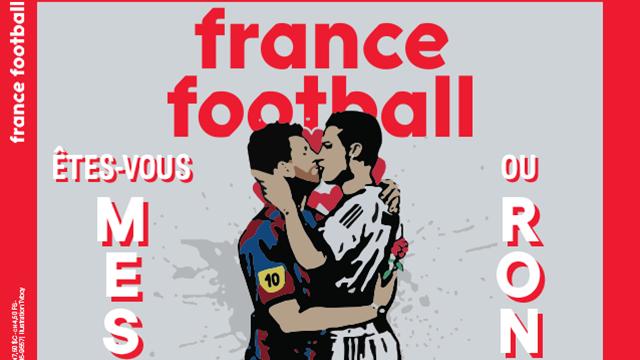 France Football изобразил страстный поцелуй Месси и Роналду на обложке нового выпуска