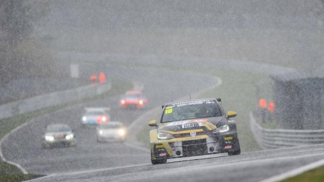 Snow joke for WTCR racers Leuchter and Monteiro