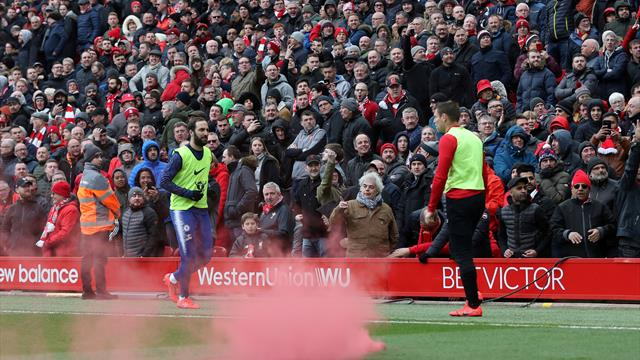 Liverpool vows to ban fan who threw flare into Chelsea end